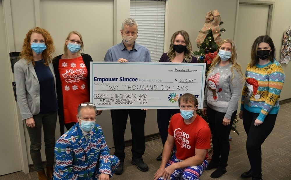 Barrie Chiropractic Clinic large donation cheque