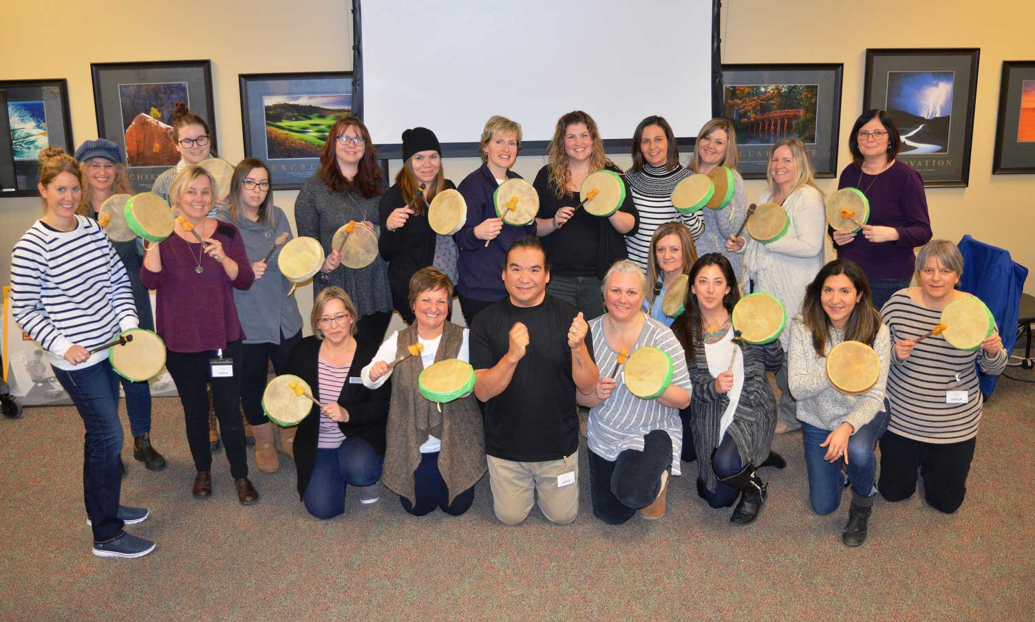 Simcoe Community Services staff create traditional hand drums