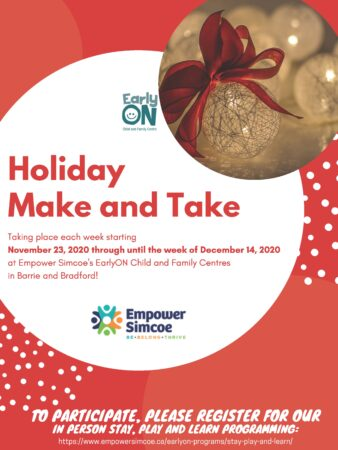 Festive Red & White Poster for EarlyON Holiday Make and Take