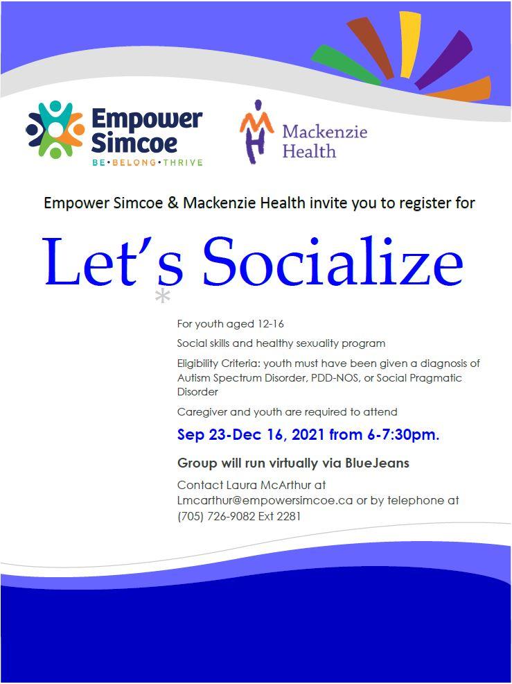 Lets Socialize Flyer for 2021-2022