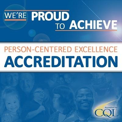Blue achievement banner for cql accreditation