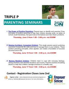 Triple P parenting seminar flyer